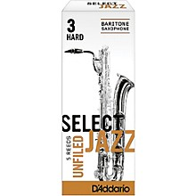 D'Addario Woodwinds Select Jazz Unfiled Baritone Saxophone Reeds Strength 3 Hard Box of 5