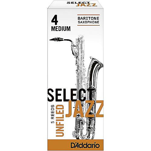 D'Addario Woodwinds Select Jazz Unfiled Baritone Saxophone Reeds Strength 4 Medium Box of 5