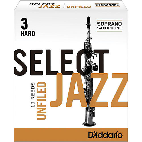 D'Addario Woodwinds Select Jazz Unfiled Soprano Saxophone Reeds Strength 3 Hard Box of 10