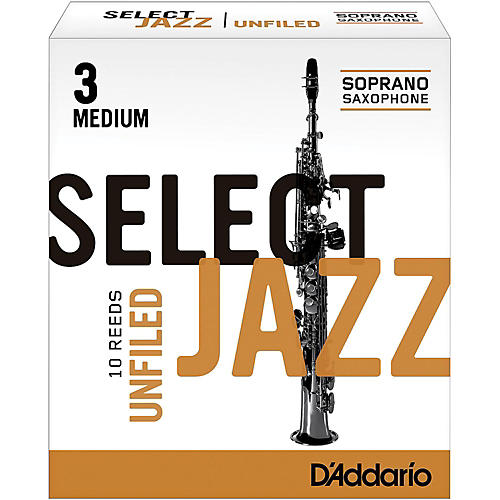 D'Addario Woodwinds Select Jazz Unfiled Soprano Saxophone Reeds Strength 3 Medium Box of 10