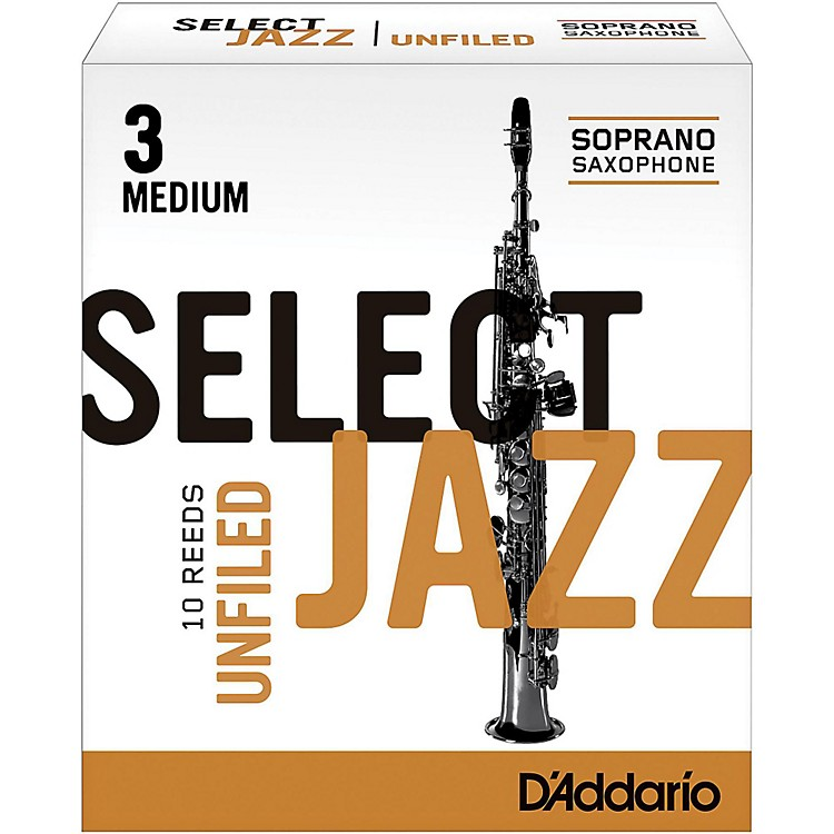 Rico Select Jazz Unfiled Soprano Saxophone Reeds Strength 3 Medium Box of 10