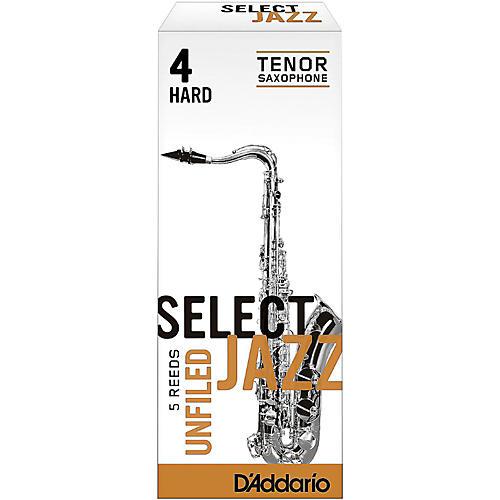 D'Addario Woodwinds Select Jazz Unfiled Tenor Saxophone Reeds Strength 4 Hard Box of 5