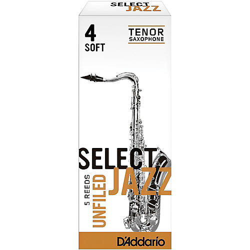 D'Addario Woodwinds Select Jazz Unfiled Tenor Saxophone Reeds Strength 4 Soft Box of 5