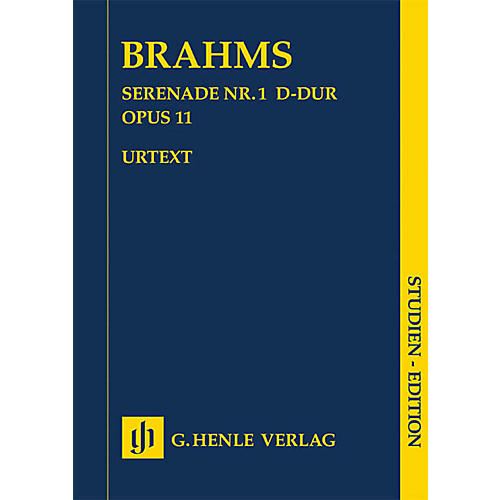 G. Henle Verlag Serenade No. 1 in D Major, Op. 11 Henle Study Scores by Johannes Brahms Edited by Michael Musgrave
