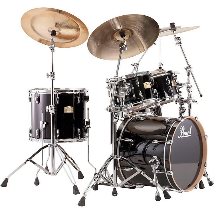 Pearl Session Studio Classic 4 Piece Shell Pack with Free 14 Inch Floor Tom Piano Black with Chrome Hardware