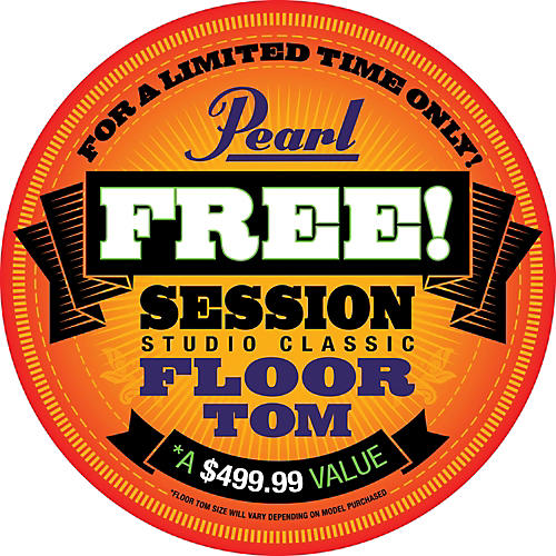 Pearl Session Studio Classic 4-Piece Shell Pack with Free 16-Inch Floor Tom Piano Black with Chrome Hardware