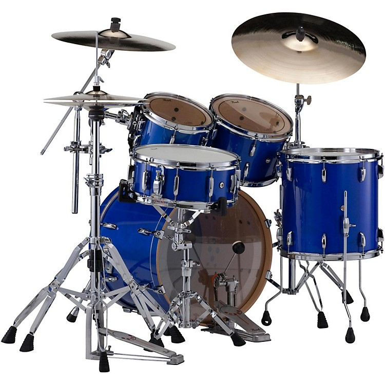 PearlSession Studio Classic 4-Piece Shell Pack with Free 16-Inch Floor TomSheer Blue with Chrome Hardware