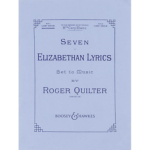 Boosey and Hawkes Seven Elizabethan Lyrics, Op. 12 (Voice and Piano) Boosey & Hawkes Voice Series  by Roger Quilter-thumbnail