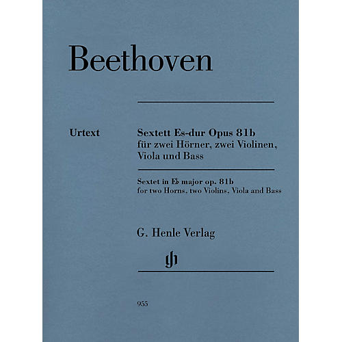 G. Henle Verlag Sextet in E-flat Major, Op. 81b Henle Music Folios Softcover by Beethoven Edited by Egon Voss-thumbnail
