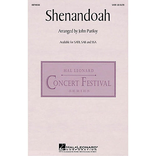Hal Leonard Shenandoah SATB arranged by John Purifoy-thumbnail