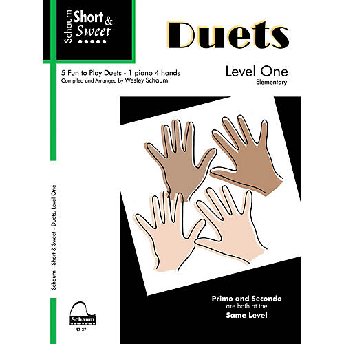 SCHAUM Short & Sweet: Duets (1 Piano, 4 Hands Level 1 Elem Level) Educational Piano Book-thumbnail