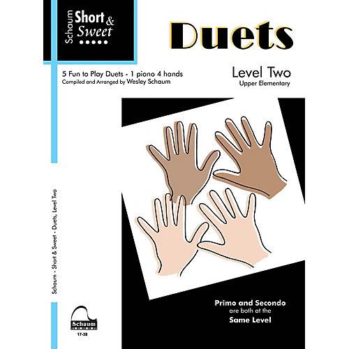 SCHAUM Short & Sweet: Duets (1 Piano, 4 Hands Level 2 Upper Elem Level) Educational Piano Book-thumbnail