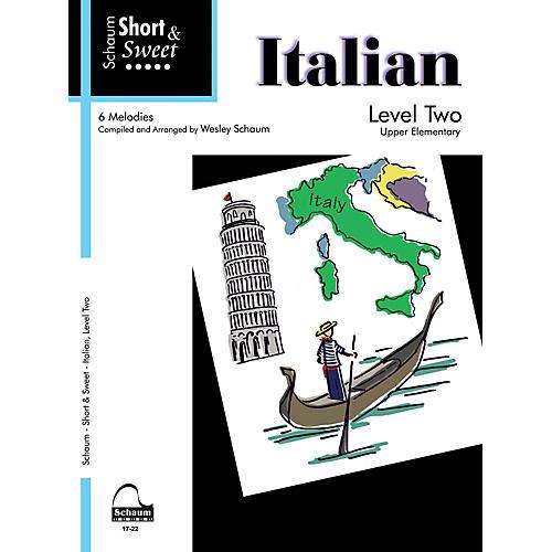 SCHAUM Short & Sweet: Italian (Level 2 Upper Elem Level) Educational Piano Book-thumbnail