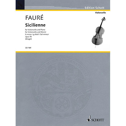 Schott Sicilienne Op. 78 in G minor (for Cello and Piano) String Series-thumbnail