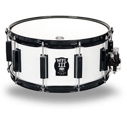 wfliii drums signature metal snare drum with black hardware 14 x 6 5 in white sparkle. Black Bedroom Furniture Sets. Home Design Ideas
