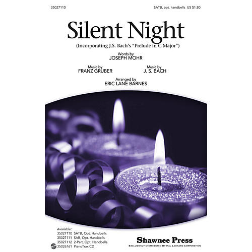 Shawnee Press Silent Night (with Bach's Prelude in C Major) SATB, HANDBELLS arranged by Eric Lane Barnes-thumbnail