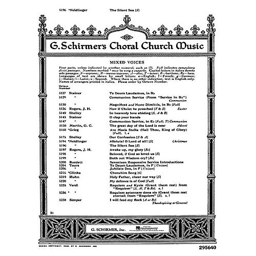 G. Schirmer Silent Sea W/Pno Or Org SATB composed by W Neidlinger-thumbnail