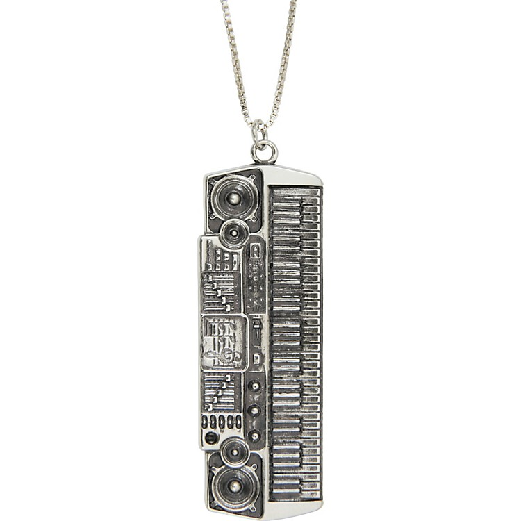 Jeffrey DavidSilver Electric Keyboard Pendant Necklace