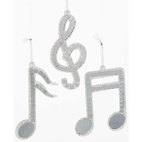 Kurt S. Adler Silver Mirror Musical Note Ornament 3/Assorted-thumbnail