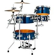Silverstar Cocktail-Jam 4-Piece Kit with Bass Drum Pedal and EMAD Bass Drum Head Indigo Sparkle