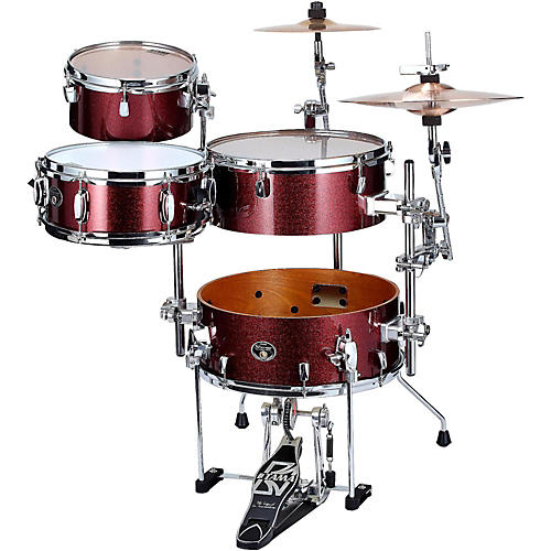 Tama Silverstar Cocktail-Jam 4-Piece Kit with Bass Drum Pedal and EMAD Bass Drum Head Vintage Burgundy Sparkle
