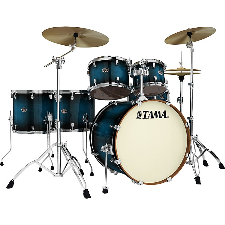 Tama Silverstar Lacquer 6-Piece Accel-Driver Shell Pack Transparent Blue Burst