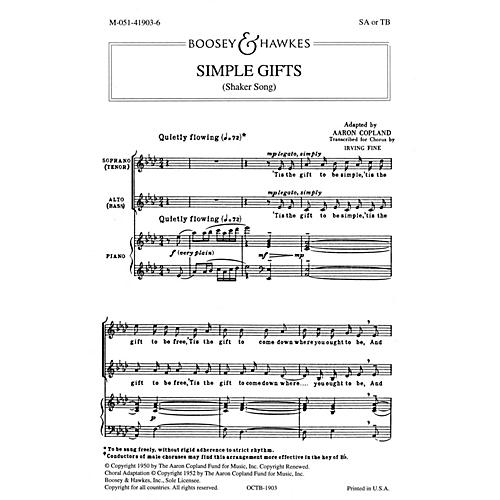 Boosey and Hawkes Simple Gifts (SA or TB and Piano) arranged by Irving Fine-thumbnail