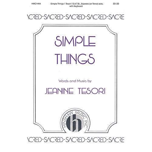 Hinshaw Music Simple Things SATB composed by Jeanine Tesori