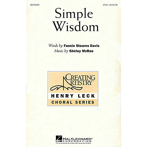 Hal Leonard Simple Wisdom 2-Part composed by Shirley McRae-thumbnail