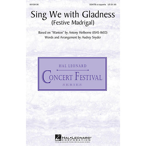 Hal Leonard Sing We with Gladness (Festive Madrigal) SSATB A Cappella arranged by Audrey Snyder-thumbnail