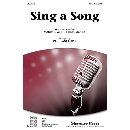 Shawnee Press Sing a Song SSA by Earth, Wind & Fire arranged by Paul Langford