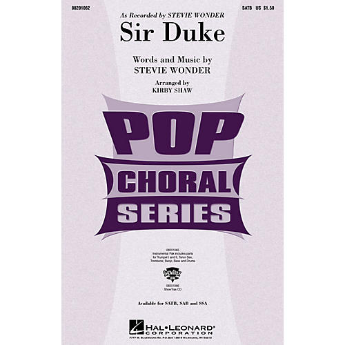 Hal Leonard Sir Duke ShowTrax CD by Stevie Wonder Arranged by Kirby Shaw