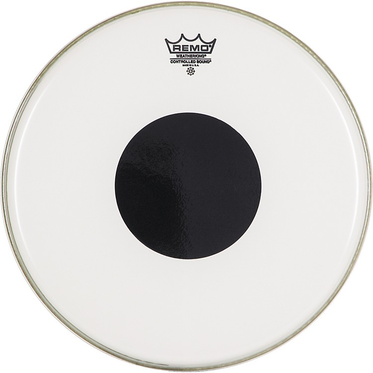 Remo Smooth White Control Sound Top Black Dot 14