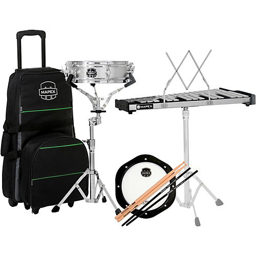 Mapex snare drum bell percussion kit with rolling bag for Yamaha student bell kit with backpack and rolling cart
