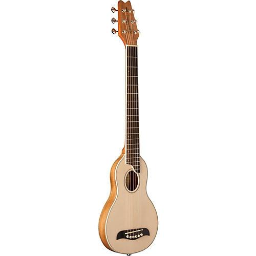 Washburn Solid Spruce Top Koa Back Rover Travel Guitar Value Pack