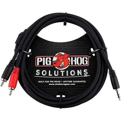 Pig Hog Solutions Stereo Breakout Cable 3.5mm to Dual RCA (3 ft.)-thumbnail