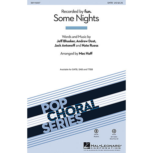 Hal Leonard Some Nights (ShowTrax CD) ShowTrax CD by fun. Arranged by Mac Huff