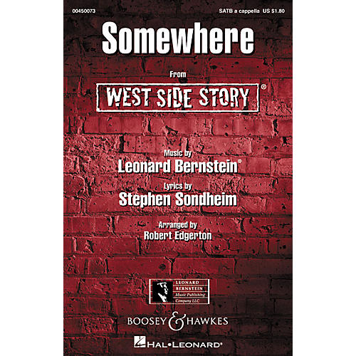 Hal Leonard Somewhere (from West Side Story) SATB a cappella Arranged by Robert Edgerton-thumbnail