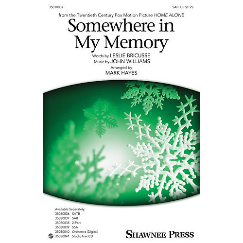 Shawnee Press Somewhere in My Memory SAB arranged by Mark Hayes