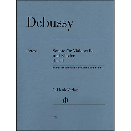 G. Henle Verlag Sonata for Violoncello And Piano In D Minor By Debussy