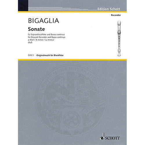 Schott Sonata in A Minor (for Soprano Recorder and B.C.) Schott Series-thumbnail