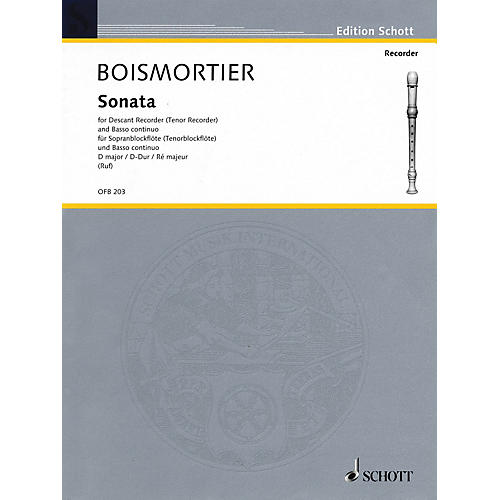 Schott Sonata in D Major (For Descant Recorder and Basso Continuo) Schott Series-thumbnail