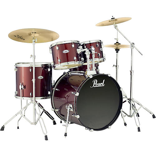 pearl soundcheck complete 5 pc drum set with hardware and zildjian planet z cymbals wine red. Black Bedroom Furniture Sets. Home Design Ideas