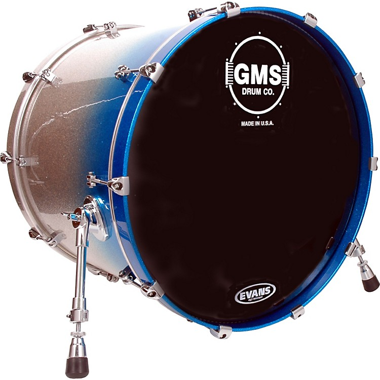 GMS Special Edition Bass Drum 18X22 Silver/Blue Sparkle Fade