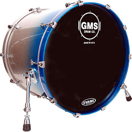 GMS Special Edition Bass Drum 20 x 18 in. Silver/Blue Sparkle Fade