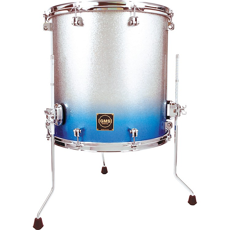 GMS Special Edition Floor Tom 14X14 Silver/Blue Sparkle Fade