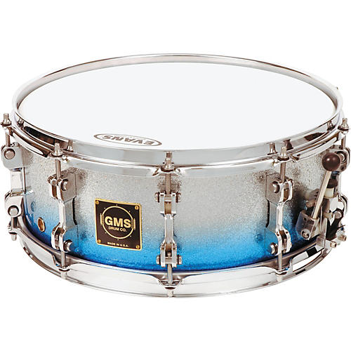 GMS Special Edition Snare Drum 7 x 13 Silver/Blue Sparkle Fade