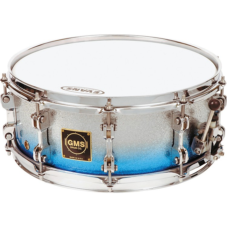 GMS Special Edition Snare Drum 6.5X14 Silver/Blue Sparkle Fade