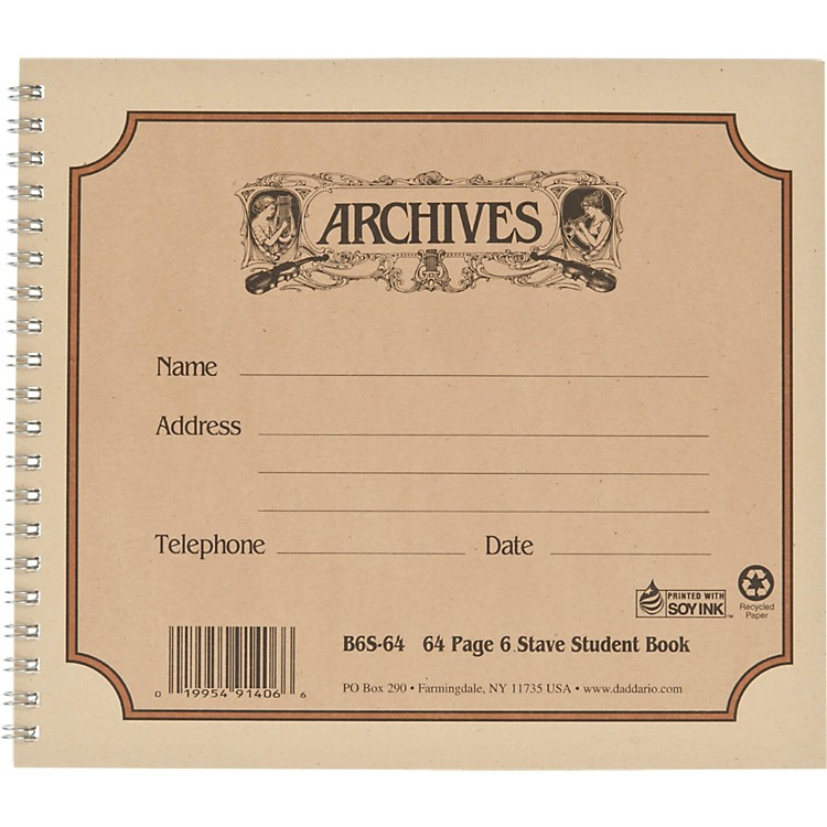 Archives Spiral Bound Manuscript Paper 6 Staves
