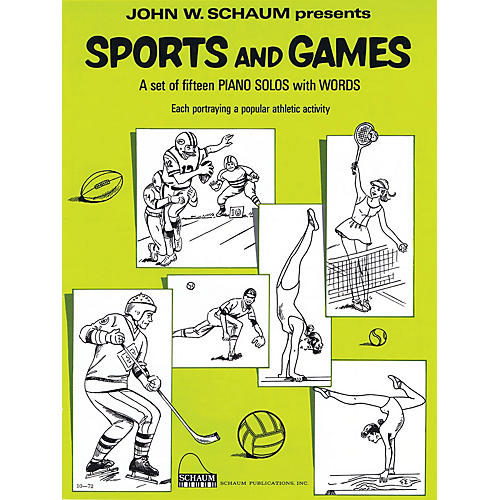 SCHAUM Sports and Games (Level 2 Upper Elem Level) Educational Piano Book by John W. Schaum-thumbnail